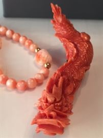 Rare Coral Carved Dragon Brooch
