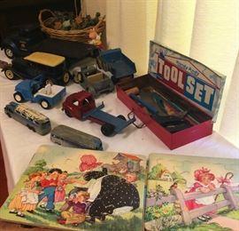 Vintage Trucks, Cars, Handy Andy Tool Set, Army Soldiers, Vintage Nursery Rhyme Puzzles