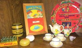 Vintage bank, yo-yo's, Tea set, miniature Coca-Cola, Spelling and Counting Board