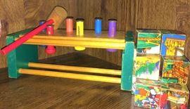 Vintage Fairy Tale puzzle blocks, childs hammer and peg set.