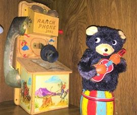 Vintage Western Toy Phone, Musical Bear