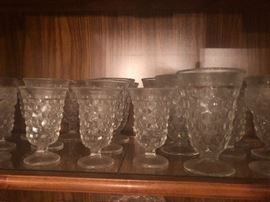 Vintage Quality made footed glassware tumblers made by Fostoria Glass Company of Moundsville, West Virginia.  This is their  iconic 'American' pattern which was introduced in 1915 and was made by Fostoria until they closed in 1986.    The pattern was so successful that other glass companies made their own 'cubed' pattern with less quantity glass.