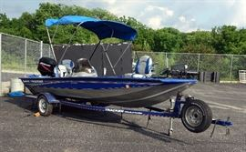 "2006 Basstracker P175 Special Edition Bass Boat 17' 3"" and Tracker Trailstar Trailer, 2006 Mercury 50hp Outboard Motor, Canopy, Storage Tarp Cover"