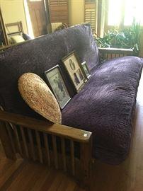 Crushed purple velvet futon, mission style frame