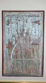 "Family Room:  London, Ontario visual artist Bill Vincent created this original piece of art (26-l/2"" x 41-l/2"" wide and 2-l/2"" deep, including the frame).  It represents a hinged door and has an actual metal hook attached to it in the lower one-third of the piece.  Titled ""Porte du Crochet,"" it was purchased at the ""Museum des Beaux Arts de Montreal"" in Canada in 1989.  Vincent  has had numerous expositions starting in the early 1970's and currently works in print, painting, sculpture and multi-media."