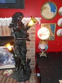 (3) Light figural floor lamp approx 3.5' tall