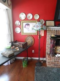 (3) light floor lamp is a reproduction and gorgeous!  Many vintage plates and pictures