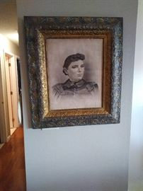 Awesome Victorian lady in original frame