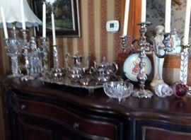 VICTORIAN SILVER PLATE TEA SET WITH TRAY/PAIR OF VICTORIAN SILVER PLATE CANDELABRAS