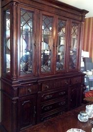LARGE CHINA CABINET WITH AN LEAF