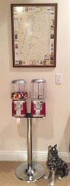 Reproduction Gumball Machine along with Ceramic Dog (as found) and decorative lake map