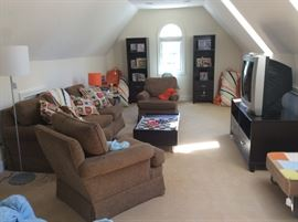 Second Floor TV Room with furniture, games, TV and more!