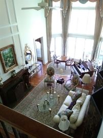 View of the Living room Maitland Smith Game Table and Chairs and other wonderful pieces (The Piano is NOT for sale)