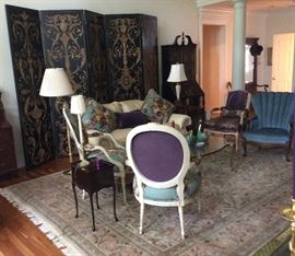 Maitland Smith Screen, Century Sofa and Small Queen Anne Stand Still Available