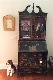Vintage Secretary with Books and Small Collectibles