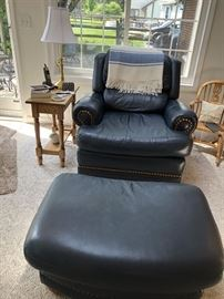 LaZBoy Blue Leather Reclining Chair and Ottoman.  One of two, Side Tables and lamps...