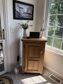 Oak Side Cabinet, Folk Art...