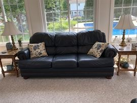 LaZBoy Blue Leather Sofa, side tables and lamps...beautiful sofa with oversized nailheads.