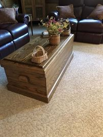 Oak Trunk used as a coffee table...