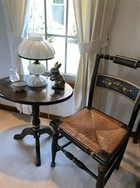 Hitchcock Side chair, one of 5, side table and Lamp