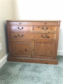 One piece of a dining room suite. Drexel The Pine Group chest. Top drawer pulls out to make a charming bar or tea top. This style of furniture is definitely the rustic chic that is popular.
