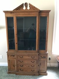Another large break front piece of Drexel The Pine Group furniture. All original glass, wonderful storage for a dining room, study, office, living room or great room.