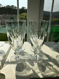 Four vintage water/tea glasses with engraving.