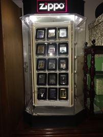 ZIPPO DISPLAY CASE COMPLETE WITH LIGHTERS
