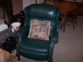 LEATHER RECLINER-WING CHAIR