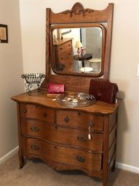 Vintage Bow Front Chest With Mirror