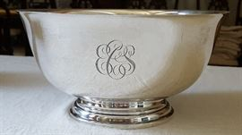 "Paul Revere Sterling bowl.  It is monogrammed and large, 10"" across"