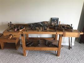 Antique Industrial Work Bench