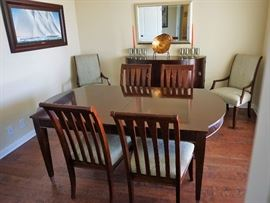 Ethan Allen dining table, chairs and matching buffet