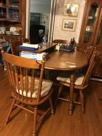 #2 tell city table w 2 leaves and 8 chairs 60-84x40x29  $275.00