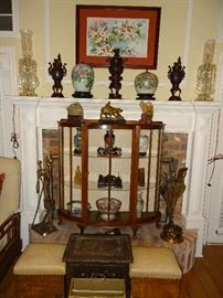 Console Curio, Oriental Art, and Brass Fireplace Items