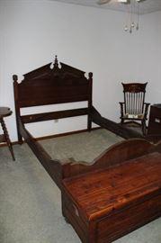 Antique bed; cedar chest; rocking chair