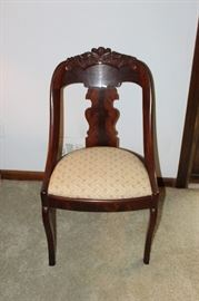 Lovely Regency chairs with burl wood back and carved top