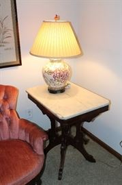 Marble top table (pair of these) and ginger jar Oriental lamps