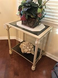 #2	metal cream color end table w glass top and shelf 24x18x27	 $175.00