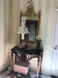 #10	black marble top mahogany base  entry table 48x18x32	 $200.00 	 #11	gold bevel mirror w flower on top 27x52	 $200.00 	 #12	wood box w white diamond pattern design 19x11x11	 $75.00