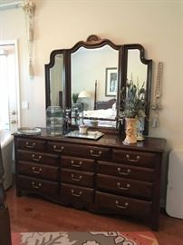 #15	harden dresser w mirror 12 drawers 71x20x33 mirror 56x48	 $425.00
