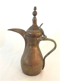 Large Selection of Brass and Copper Tea Pots.