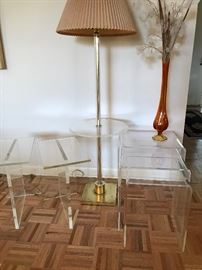 LUCITE TABLES & TABLE LAMP