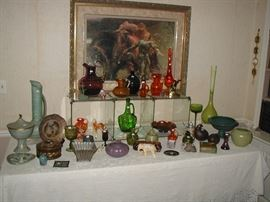 Pottery and vintage glassware