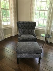 """Fabulous Contemporary Tufted Wing back Chair and ottoman """"Clementine"""" from RH $850"""