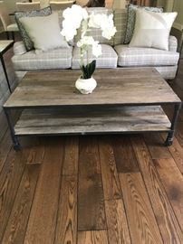 "RH ""Dutch Industrial"" Reclaimed Wood Coffee Table 32"" x 55""  $450"