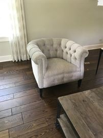 Pair of RH English Tufted Tub Chairs $1200 for pair