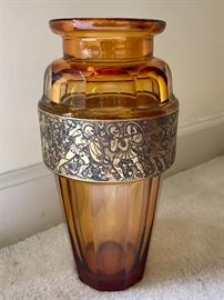 Signed Karlsbad Amber Vase