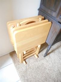 solid maple TV tray stands with holder