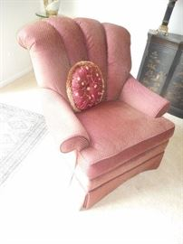 good size upholstered arm chair, in cranberry color with gold